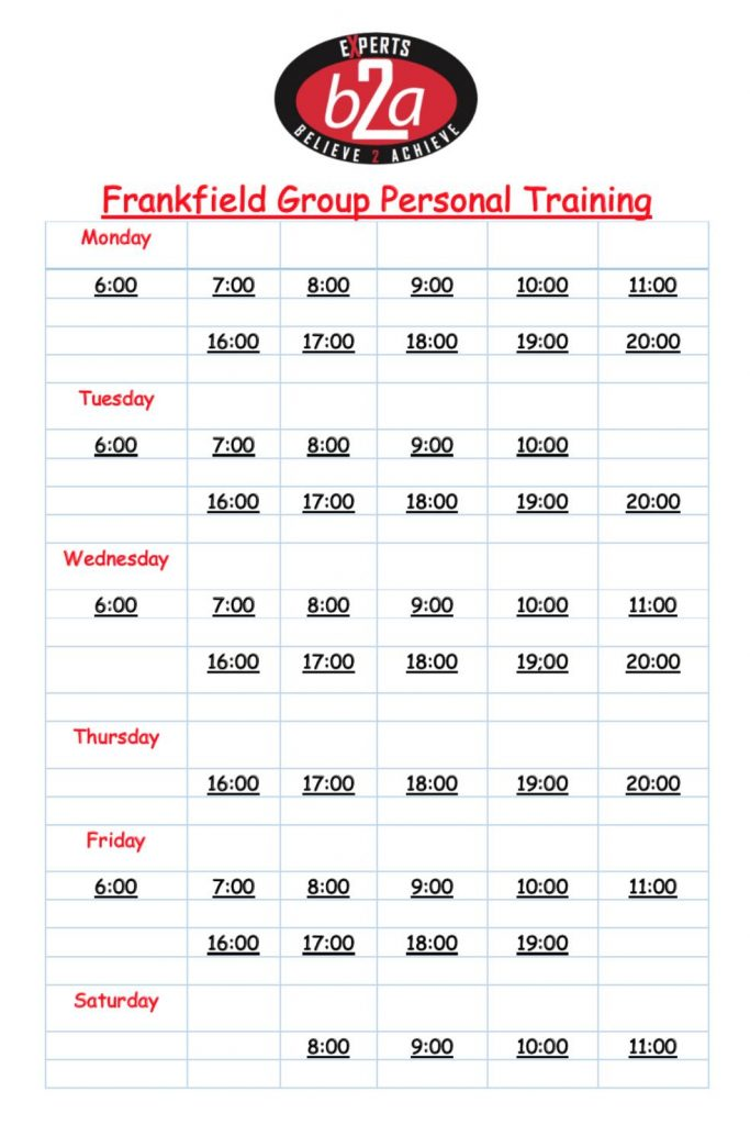 Frankfield cork grou personal training schedule